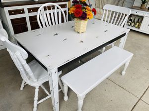Super shabby kitchen table /3 big chairs / one bench 😍 for Sale in Denver, CO