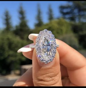 Rhinestones Big Oval AAA CZ Stone Rings For Women for Sale in Spring, TX