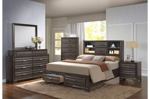 Full Size Platform Bed In white or dark grey with bookcase headboard and 2 storage drawers New for Sale in Vancouver, WA