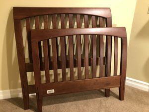 1 Like-New Beautiful Twin Cherry Wood Sleigh Bed - headboard, footboard, and supporting crossbars. for Sale in Issaquah, WA