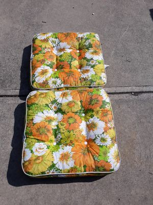 Pair vintage flower power retro vinyl patio cushions for Sale in Elyria, OH