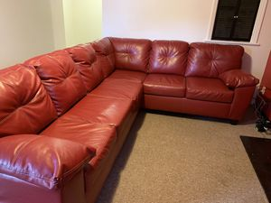 Ashley Red Leather Sectional for Sale in St. Louis, MO