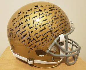 Rudy Ruettiger Autographed Full Size Replica Notre Dame Helmet w/RARE Speech for Sale in Farmington, MN