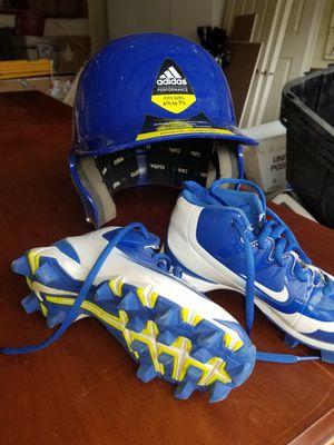 Nike baseball cleats and helmet for Sale in Salt Lake City, UT