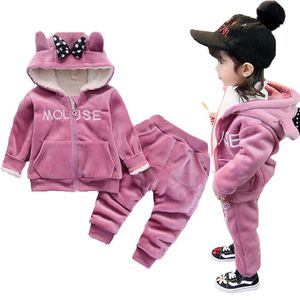 Warm Baby Girls Clothing Set Winter Thick Plush Cotton Clothing Sets For Baby Girls Hoodies And Pants Kids Suit Children Clothes for Sale in Orlando, FL