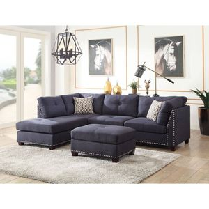 BLUE LINEN LEFT FACING CHAISE SECTIONAL SOFA OTTOMAN / SILLON SECCIONAL MUEBLES for Sale in Rancho Cucamonga, CA