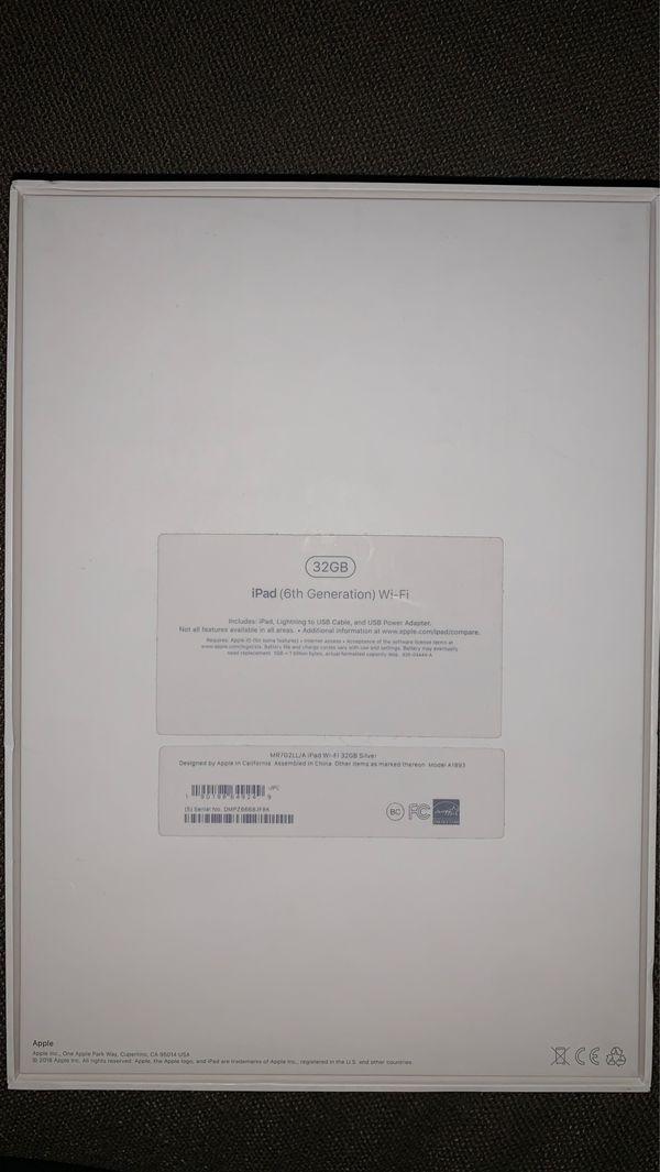 Brand New! iPad 6th generation 32gb WiFi, silver