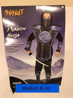 New Ninja Dragon – Boys size available - -Medium 8-10 Includes Top , pants , tunic wrist and leg guards mask , Reg. $21.99 From Spirit for Sale in Chicago,  IL