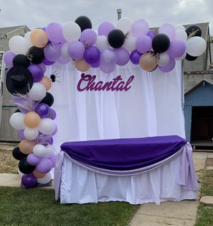 Birthday Balloons Globos para cumpleaños decoración backdrop setup main table mesa principal for Sale in Los Angeles, CA