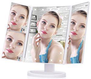 LED Makeup Mirror, Haofy 21 Led Lights Trifold Vanity Mirror with Touch Screen,1X 2X 3X Magnification and 180 Degree Adjustable Stand Travel Mirror f for Sale in North Plainfield, NJ