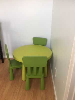 IKEA Light Green Kids Table W/ 3 Chairs for Sale in Peoria, AZ