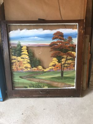 Hand-Painted Window with country scene for Sale in Kalkaska, MI