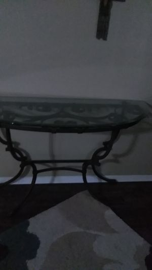 Glass top table with antique gold legs and trim for Sale in Bedford, TX