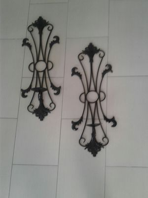 Metal wall decoration with candles holder size 35 inches high for Sale in Orlando, FL