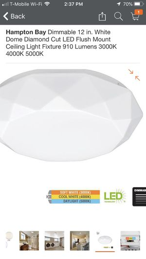 Bran new in box regular price is $34.97 plus tax total $37.59 and I have this for for only $30 Hampton Bay Dimmable 12 in. White Dome Diamond Cut LED for Sale in Victorville, CA