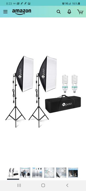 HPUSN Softbox Lighting Kit Professional Studio Photography Continuous Equipment with 85W 5500K E27 Socket Light and 2 Reflectors 50 x 70 cm for Sale in City of Industry, CA