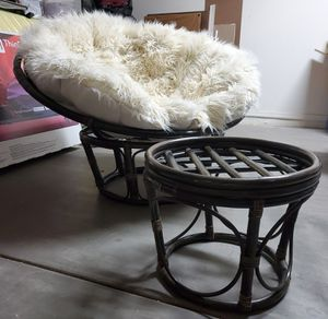 Papasan chair with cushion and foot stool (no foot stool cushion) for Sale in Chandler, AZ