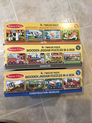 Melissa dough wooden puzzle all three boxes together like new for Sale in San Jose, CA