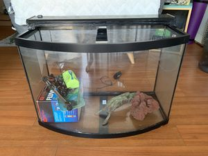 AQUEON 36 GAL BOW FRONT GLASS AQUARIUM SET - INCLUDES EVERYTHING YOU NEED!!! for Sale in Walnut, CA