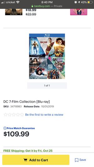 Dc 7 movie collection SEALED for Sale in Houston, TX