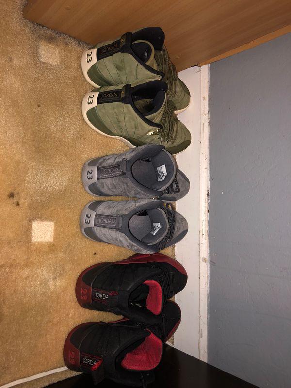 Jordan 12 Cool Grey, Flu Game, Army Green $180 Each