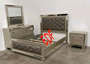 NEW 4 PCS BEDROOM SET BED FRAME ONLY, NIGHTSTAND,DRESSER AND MIRROR for Sale in Ontario, CA