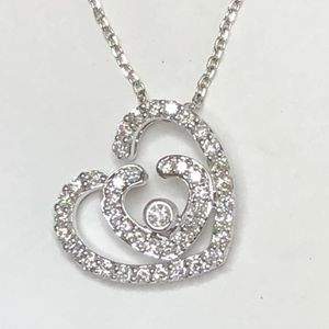 Diamond Pendant Double Hearts 0.68 Carats Diamonds 18 K White Gold Chain Can Be Adjustable 16 Or 18 Inches for Sale in Fort Lauderdale, FL