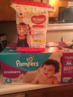 Pampers cruisers size 4 box and big packs of huggies wipes 216 count for Sale in Bellflower, CA