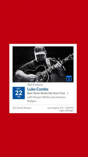 2 LUKE COMBS TICKETS (Los Angeles, Greek Theatre) for Sale in Lakewood, CA