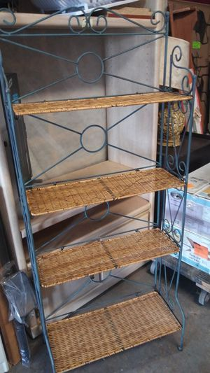 Wrought Iron and Wicker Bakers Rack for Sale in Winter Haven, FL