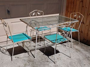 Antique Wrought Iron Glass Table and Chairs for Sale in Zephyrhills, FL