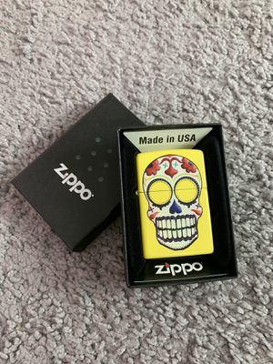 NEW Zippo Windproof Lighter - Day of the Dead Sugar Skull Neon Yellow Finish for Sale in Artesia, CA