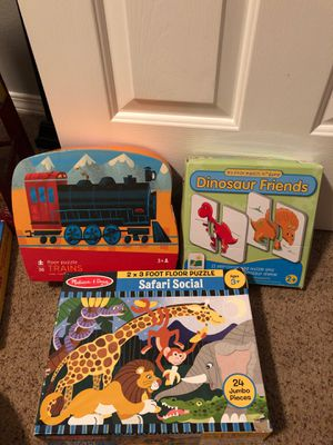 Puzzles kids trains matching dinosaurs, Melissa and Doug jungle safari puzzle games for Sale in Vancouver, WA