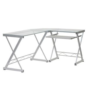 Techni Mobili L-Shaped Clear Tempered Glass Top Computer Desk with Pull Out Keyboard Panel for Sale in Richmond, CA