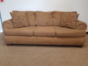 Brown Studded Couch With Throw Pillow for Sale in Denver, CO