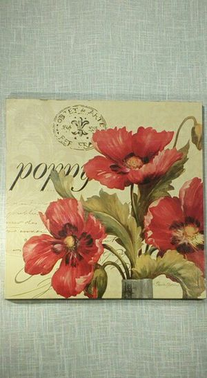 """Poppy Flower Canvas Wall Art 18""""x18"""" - *PICKUP ONLY*- home decor, household, pictures, paintings for Sale in Mesa, AZ"""