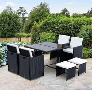 Outsunny 9 Piece Outdoor Rattan Wicker Dining Table and Chairs Patio Furniture Set. ( Already Assembled) for Sale in Alpharetta, GA