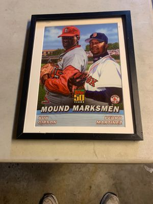 Bob Gibson andPedro Martinez photo from Topps 50 years of baseball cards for Sale in Seattle, WA
