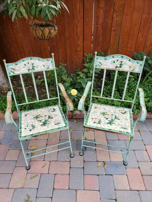 Outdoor patio furniture mosaic tile Iron Chairs PAIR for Sale in Long Beach, CA