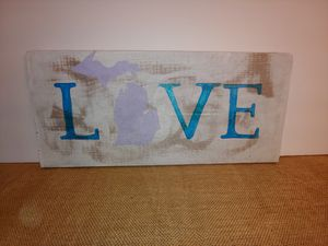 Hand painted Love Michigan sign for Sale in Alden, MI
