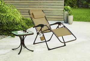 Zero Gravity Sling Outdoor Chaise Lounge Chair In cafe New for Sale in Baldwin Park, CA