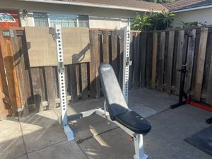 Olympic weight bench with squat rack incline decline for Sale in Fullerton, CA