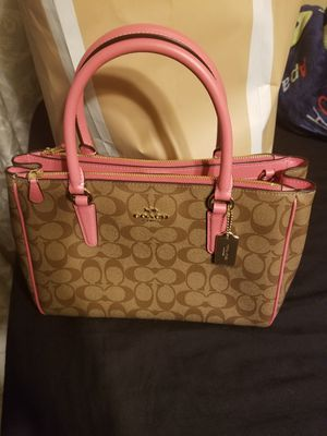 Coach very cute and small Satchel/Crossbody khaki and pink colors for Sale in Garland, TX