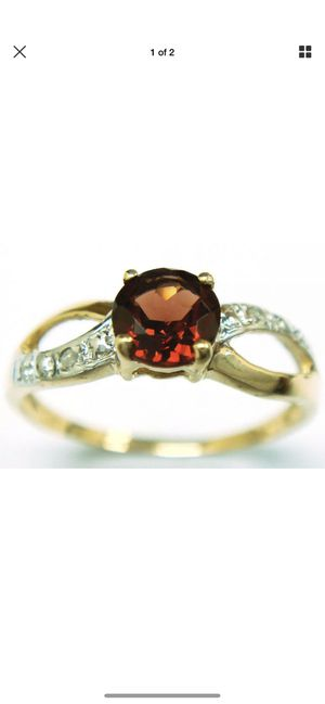 Garnet and diamond ring solid yellow gold for Sale in Clarkston, GA