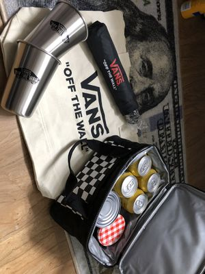 Brand new vans combo kit. Umbrella, cooler, tote bag with zipper opener, 2 cups for Sale in Midway City, CA