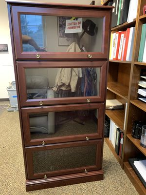 Cherry Wood looking Glass shelves for Sale in Issaquah, WA