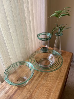 Vintage Swirly Green Glass Display/Serving Set for Sale in Redondo Beach, CA