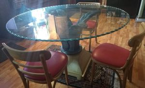 Table.. With Thick Glass..and base. Comes w 4 chairs $125.. Prince George for Sale in Hopewell, VA