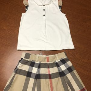 Burberry Girls Wool Cheek Skirt And Shirt for Sale in Weston, FL