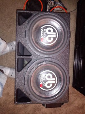 2 12inch db drive wdx G2 speakers 6000watt quantum audio amp soundstream double face cd bluetooth and aux face and door 4 channel amp for Sale in Nashville, TN